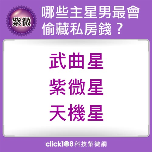哪些紫微主星男最會偷藏私房錢?
